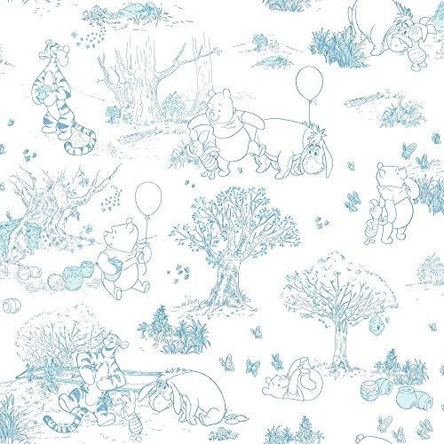 York Wallcoverings Walt Disney Kids II Pooh and Friends Toile Wallpaper Memo Sample, 8-Inch x 10-Inch, Blues/White ()