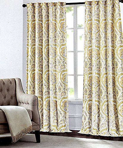 Tahari Home Camden Paisley Scrolls Window Panels 52 by 84-inch Set of 2 Floral Medallions Window Curtains Hidden Tab Drapes Mustard Yellow Gray Ivory Beige Grey Boho Style