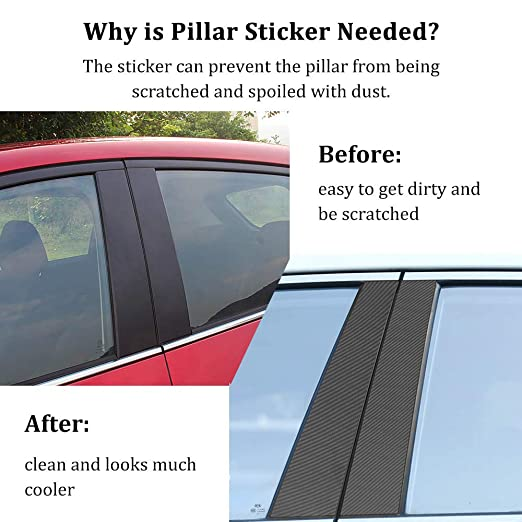 BUENNUS Carbon Fiber Window Pillar Post Sticker for Mazda CX-5 Accessories 2019 2018 2017,BUENNUS 10Pcs//Set Window Pillar Trim Protective Cover for Mazda CX5 CX 5 Decoration Accessories