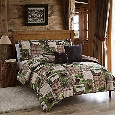 Lodge Inspired Patchwork Pattern Comforter Set, Featuring Deer Moose Animal Print Bedding, Lake Boat Pine Cone Design, Basket Weave Checkers Plaid, Stylish Rustic Decor, Brown, Green