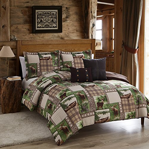 5 Piece Lodge Themed Patchwork Pattern Comforter Set Queen Size, Featuring Deer Moose Animal Print Bedding, Lake Boat Pine Cone Design, Basket Weave Checkers Plaid, Stylish Rustic Decor, Brown, Green