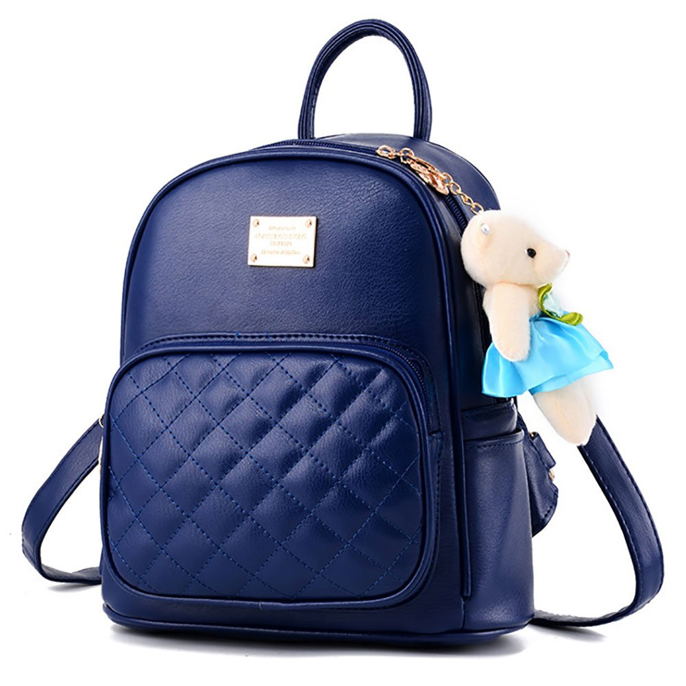 Girls Leather Backpack Purse Satchel School Bags Casual Travel Daypacks for Womens Mini Backpack Dark Blue