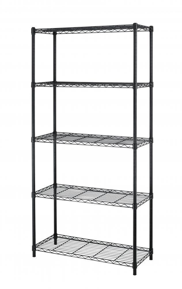 Chrome/Black 5-Shelf Steel Wire Tier Layer Shelving 72''x36''x14'' Storage Rack 75