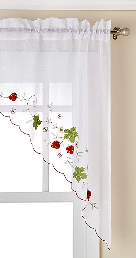 LORRAINE HOME FASHIONS 00032-SWAG-00148 RED Strawberries Tailored Window Swag,Red,58
