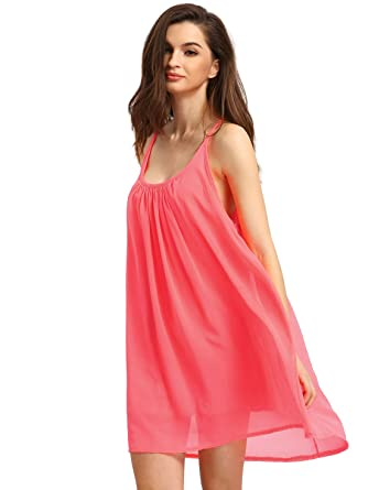 91a4348179 Romwe Women s Spaghetti Strap Sundress Hollow Out Summer Chiffon Beach  Short Dress Watermelon Red L