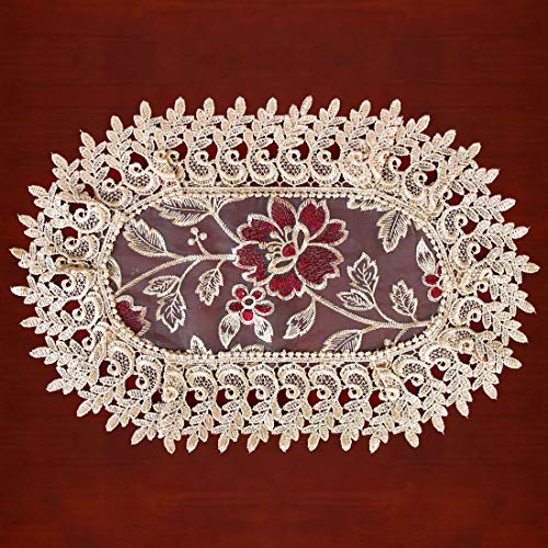 Grelucgo Beige Lace Table Doilies and Placemats Oval 12×18 Inches Set of 4 ()