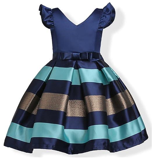 8eb7d1dd6 Girls Casual Ruffles Dresses Kids Summer Ball Gown Striped Party Gorgeous  Dress Sleeveless(Navy,