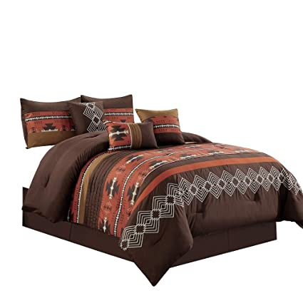 Native American Bedding Sets.7 Piece Western Southwestern Native American Design Comforter Set Multicolor Spice Brick Coffee Brown Embroidered Queen Size Bed In A Bag Navajo