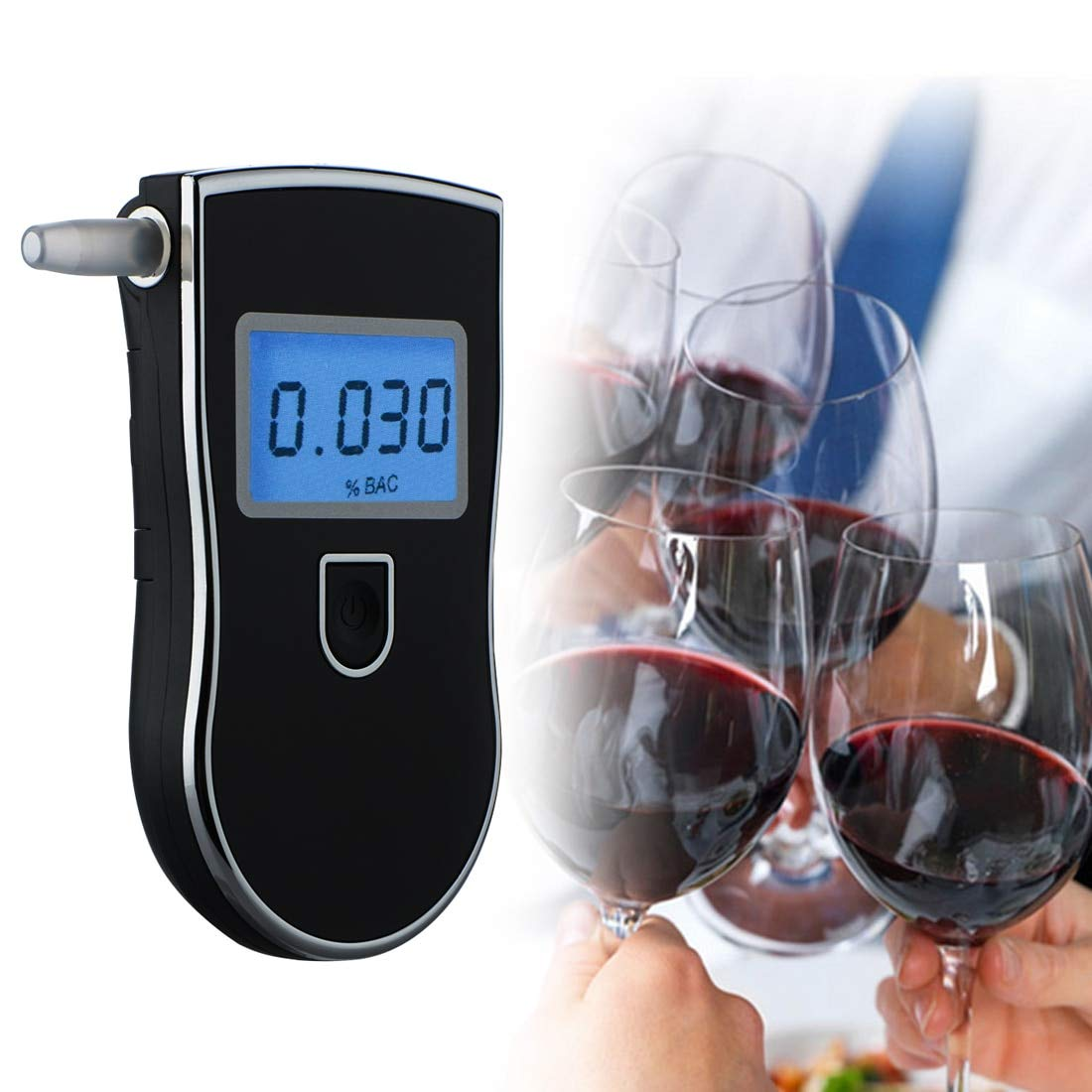 Professional Alcohol Tester Police Digital LED Breath Alcohol Tester Breathalyzer AT818 +5pcs mouthpieces Alcohol Meter