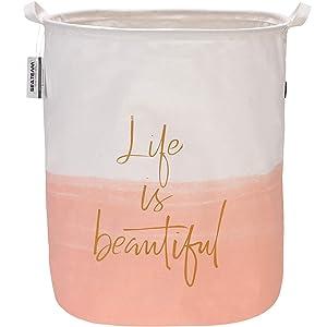 "Sea Team 19.7"" x 15.7"" Large Sized Folding Cylindric Canvas Fabric Laundry Hamper Storage Basket with Two-Tone Design, Pink & White"