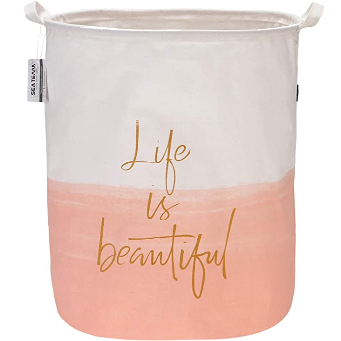 "Sea Team 19.7"" x 15.7"" Large Sized Folding Cylindric Canvas Fabric Laundry Hamper Storage Basket with Two-Tone Design, Pink & White"