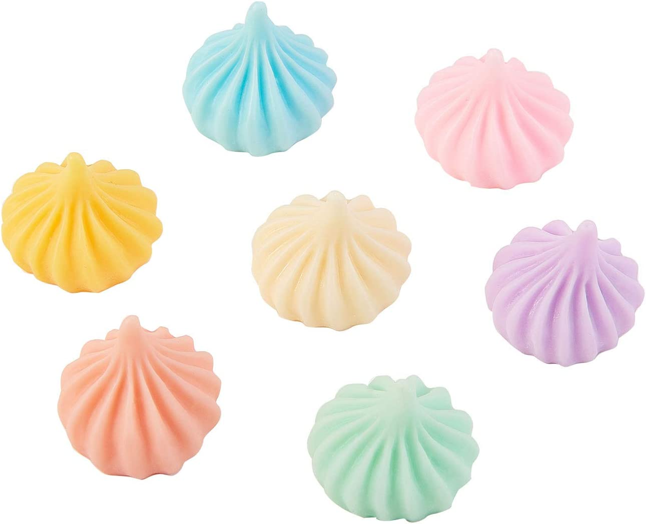 Airssory 200 Pcs Flatback Slime Charms Colored Faux Cream Shape Sugar Sticky Biscuit Steamed Stuffed Bun Imitation Food Resin Cabochons No-Hole in Bulk for DIY Crafts Cake Biscuit Decoration - 19~20mm