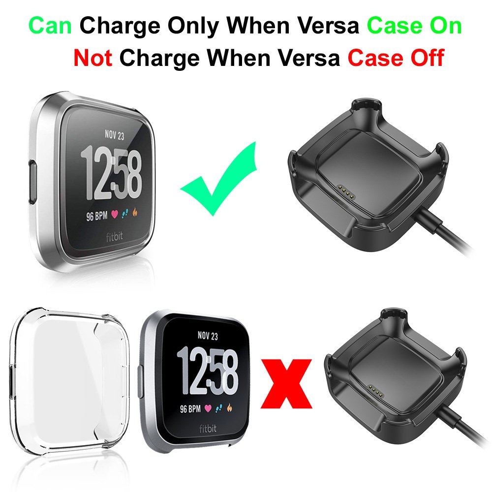 KIMILAR Screen Protector Case Charger Compatible Fitbit Versa Smartwatch TPU Plated Full Coverage Bumper Replacement case Unique Charger Dock Charging Cable Gold Charge with Case On
