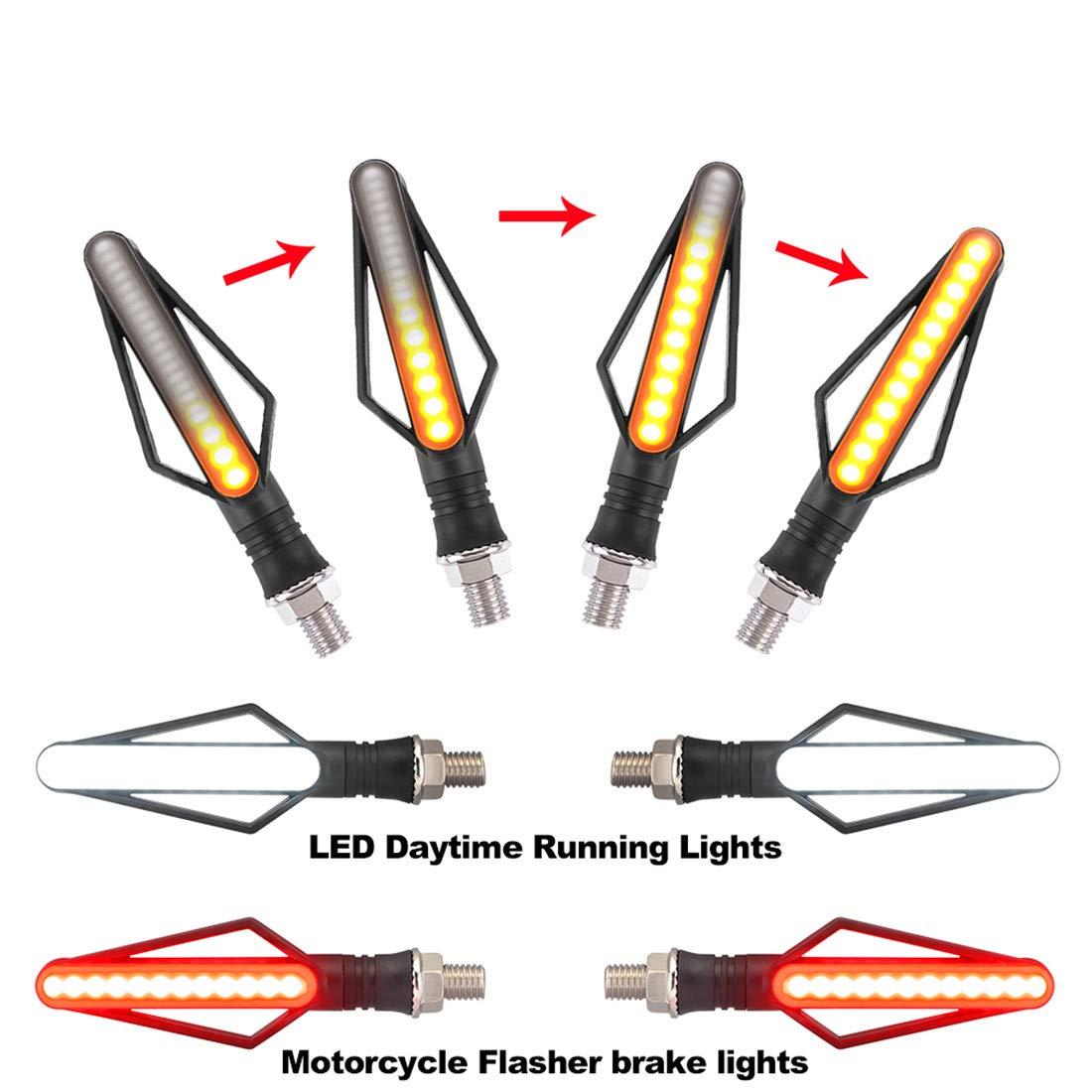 TOPWINRR Moto LED Clignotants Indicateurs avec Feux Diurnes Avant DRL Feux Stop Arri/ère Eclairage Ecoulement Ambre DC 12V Lot de 4