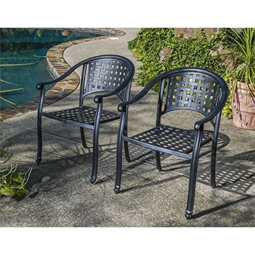 (Alfresco Home Milano Stackable Cafe Chairs in London Black, Set of 2)