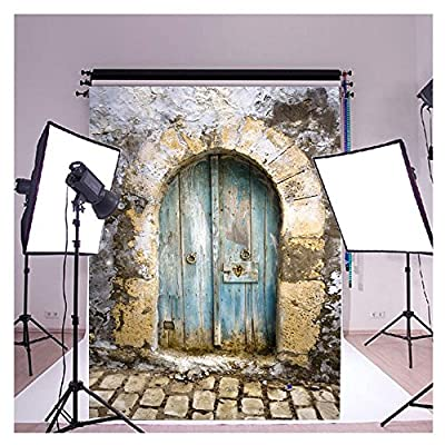 FUT 3D Retro Cement Wall Blue Door & Brick Floor Vinyl Backdrop Background Ideal for Memorial History, Wedding, Newborn, Children, and Product Photography 5x7ft