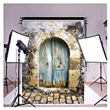 Software : FUT 3D Retro Cement Wall Blue Door & Brick Floor LESS CREASE Backdrop Background
