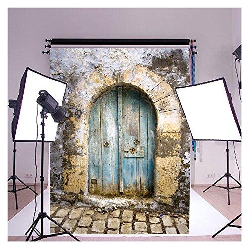 FUT 3D Retro Cement Wall Blue Door & Brick Floor LESS CREASE Backdrop Background