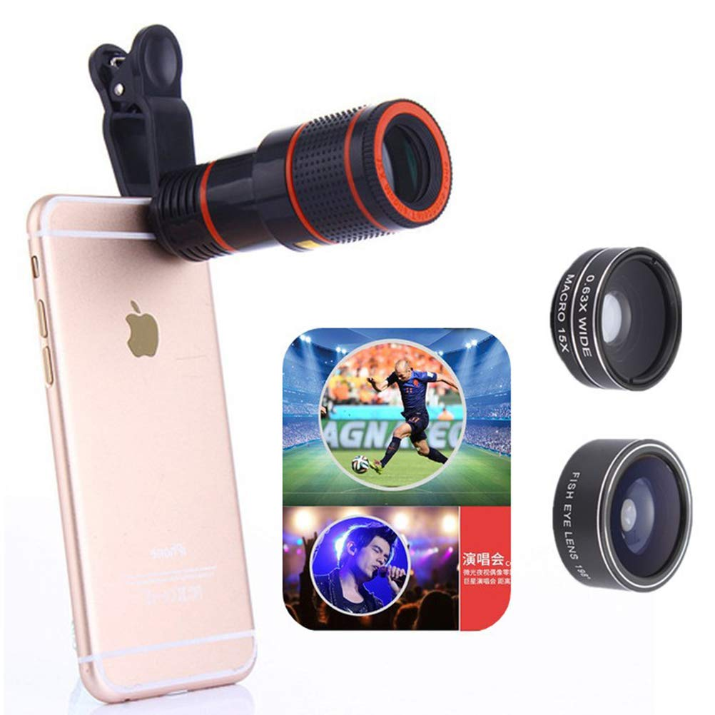 GSPOR 12X Phone Telephoto Telescope Set 4 In1 Universal Macro Lens Wide Angle Lens Fisheye Lens for Concert Travel Photograph