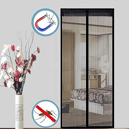 WISKEO Mosquitera para Puerta Grande Magnetica Cierre Magnético Automático Que Cortina Adhesiva Protección contra Mosquitos Pantalla FáCil de Instalar Terraza Cocina - Negro 100x210CM: Amazon.es: Hogar