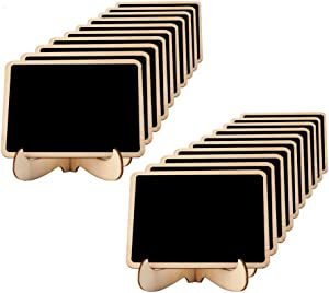Mini Chalkboards Place Cards 3.94 X 2.95 Inch with Easel Stand and Erasable Chalk for Weddings, Party Supplies, Table Numbers, Food Signs and Special Event Decoration (20 Sets)