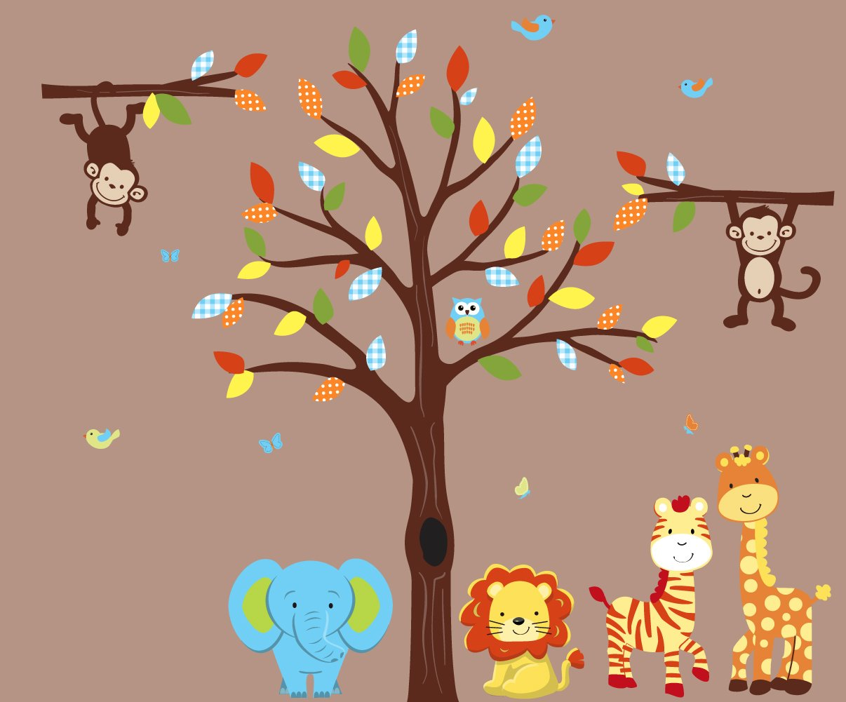 Color Me Happy Safari Nursery Wall Decal with Expedition Animal Stickers