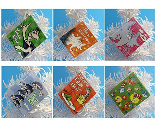 Dr Seuss Mini Notebook Ornaments Featuring 6 Random Dr Seuss Mini Notebook Ornaments, Ornaments Measure 3 Inches Tall By 2 1/2 Inches Wide and 1/4 Inch Thick, Each Book Contains Over 30 Blank Pages - Great for Recording Christmas Memories ()