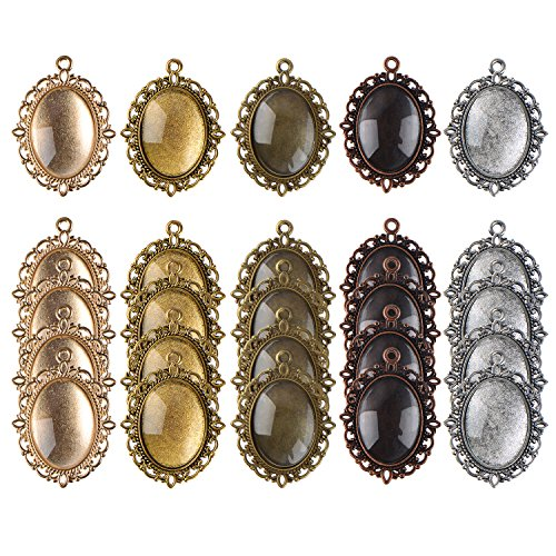 eBoot 25 Pieces Assorted Colors Pendant Trays Oval Bezels and 25 Pieces Glass Dome Tiles, Totally 50 (Oval Cabochon)