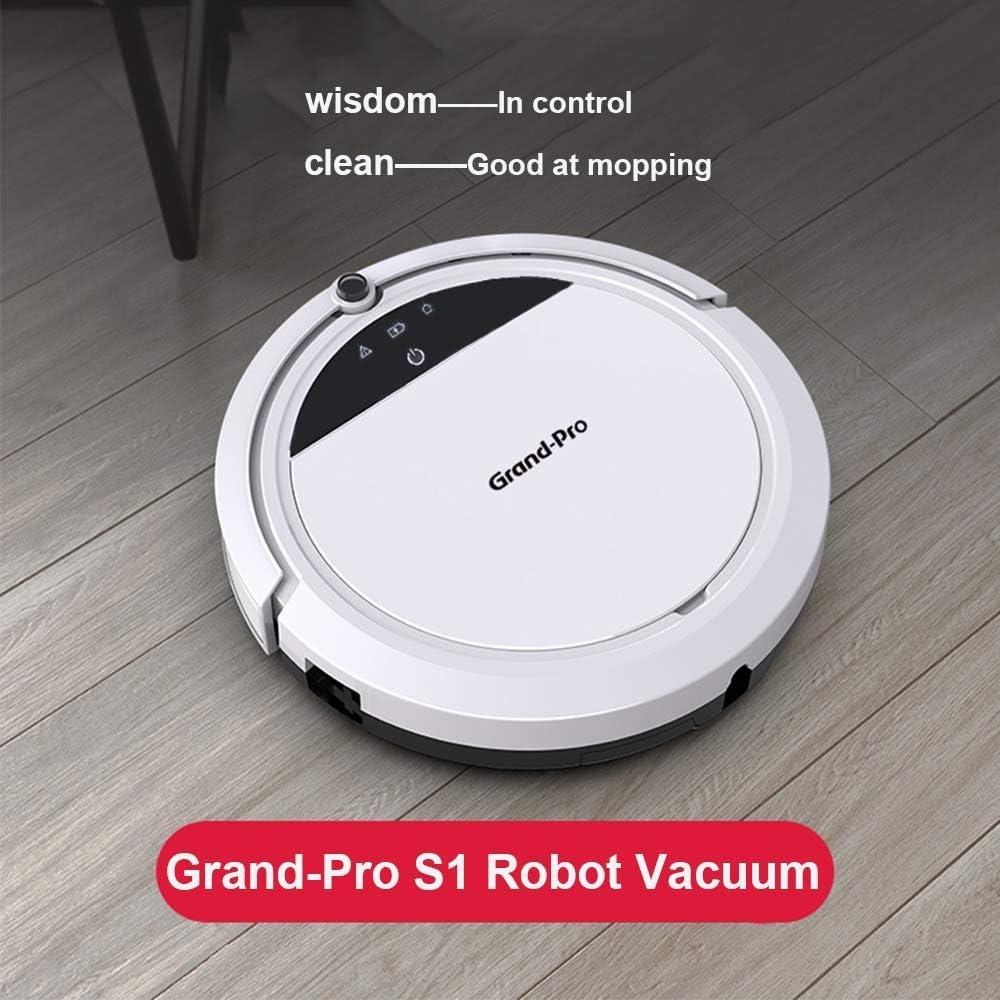 Grand-Pro S1 Robot aspiradora y fregona Combo, diseñado para suelos duros y pelo de mascotas, diseño sin enredos, delgado y silencioso, auto carga, tanque de agua de cubo de basura ajustable calendario