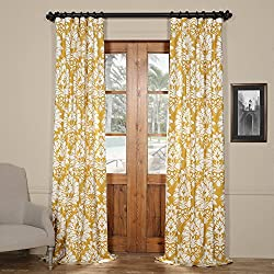 HPD Half Price Drapes PRTW-D46A-96 Lacuna Printed Cotton Twill Curtain,Sun,50 X 96
