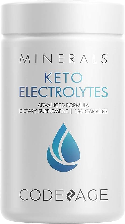 Keto Electrolytes Supplement – Vegan Electrolyte Tablets w Magnesium, Potassium, Calcium & Salt - Electrolyte Powder Salt Pills & Drink Hydration Supplements – Non-GMO, Keto Diet -180 Capsules