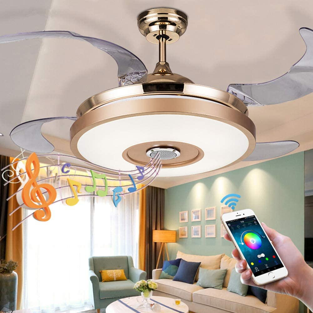 Fandian 36 Modern Smart Ceiling Fans with Light Bluetooth Speaker Music Player Chandelier 7 Colors Invisible Blades with Remote Control, Dimmable LED Kits Inlcuded 36 Classic