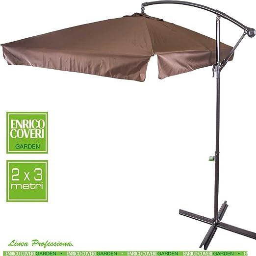 Sombrilla de jardín 2 X 3 MT palo brazo lateral de aluminio Parasol toalla de polyestere Color Moka Enrico Coveri Garden: Amazon.es: Jardín