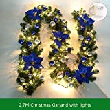 9FT Christmas Garland with Lights Battery Operated Christmas Garland with Balls Xmas Door Decoration Xmas Green Garland (Blue-With Lights, 1 Pack)