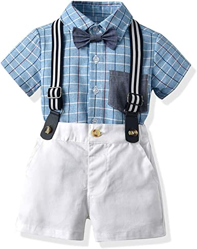 Moyikiss Studio Infant Baby Boy Gentleman Suits Short Sleeve Romper Shirt with Bow Tie+Suspenders Shorts Outfit Set