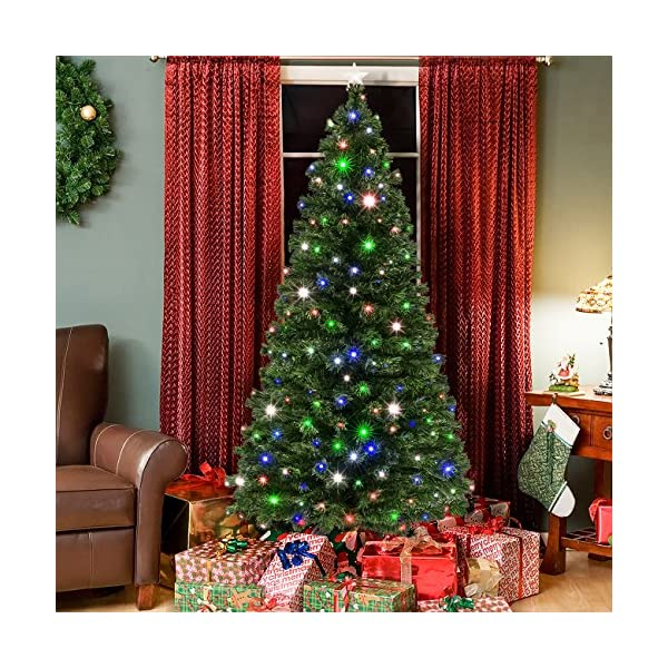 Best-Choice-Products-7ft-Pre-Lit-Fiber-Optic-Artificial-Christmas-Pine-Tree-w-280-UL-Certified-4-Color-LED-Lights-8-Sequences-Foldable-Stand-Green
