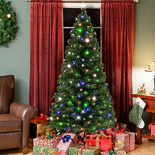 Best Choice Products 7ft Pre-Lit Fiber Optic Artificial Christmas Pine Tree w/ 280 UL-Certified 4-Color LED Lights, 8 Sequences, Foldable Stand - Green (Pre Lit Artificial Christmas Trees On Sale)