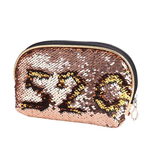 Maquillage Bag De Sequin Champion Femmes Purse Le Champage Pochette Junlinto Crayon Zipper Rangement Cosmétique Étui IFHxIwqC