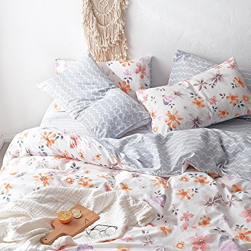 - HIGHBUY Daisy Floral Pattern Duvet Cover Set for Teens Girls 100% Pure Cotton Soft Comforter Cover Set with 2 Pillowcase for Children Flower Bedding Collection Reversible Wave Printing,Twin