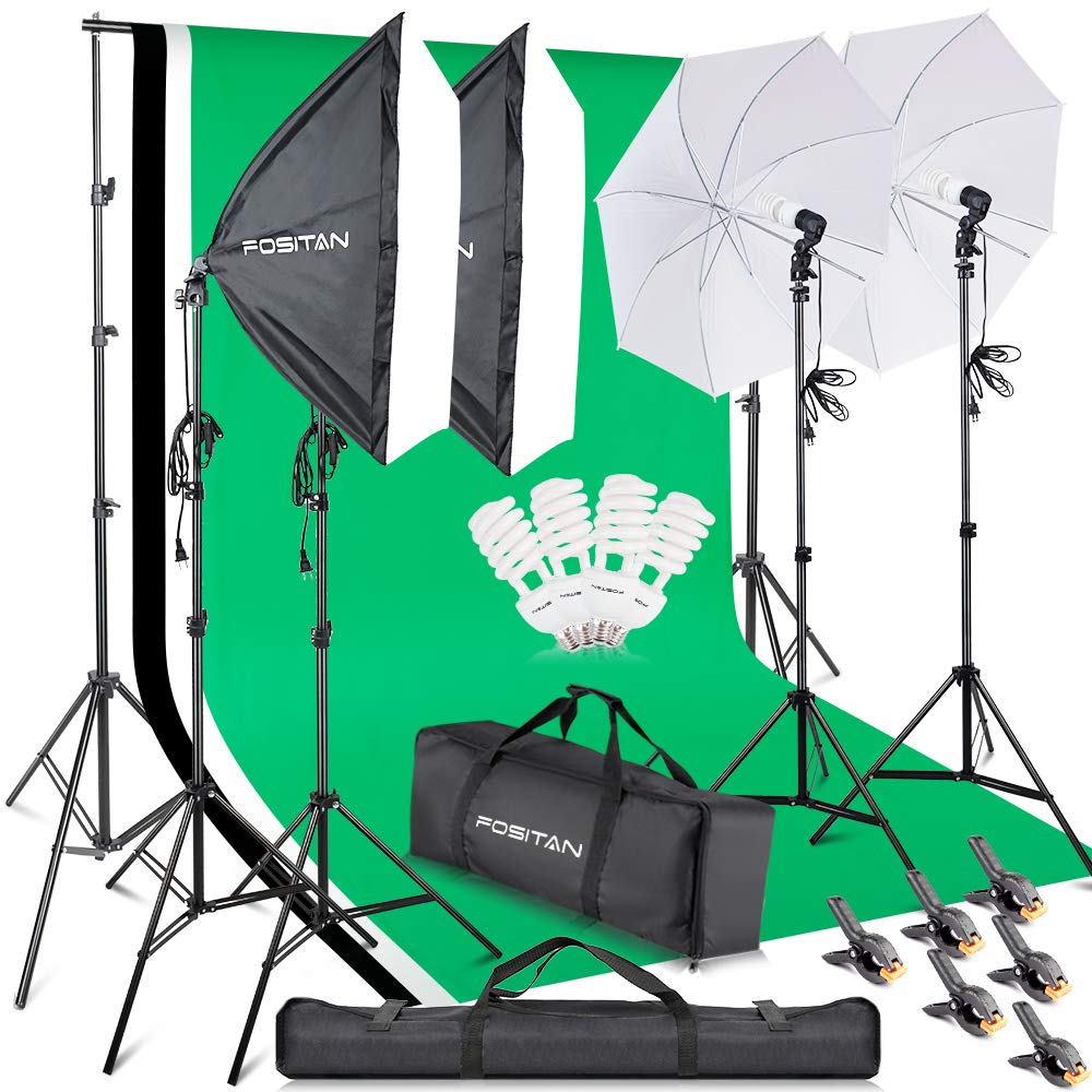 FOSITAN 2.8M x 3M/9.2ft x 9.8ft Photo Backdrop Stand kit Photography Softbox Lighting Kit Photo Lighting Studio kit Background Support System 800W 5500K Umbrella with 2M Stand for Photo Video Shooting by FOSITAN