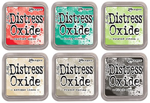 Ranger Tim Holtz Distress Oxide Ink Pads - Candied Apple, Lucky Clover, Twisted Citron, Antique Linen, Frayed Burlap and Black Soot - 6 Ink Pad Set Released June 2017 by Tim Holtz Distress