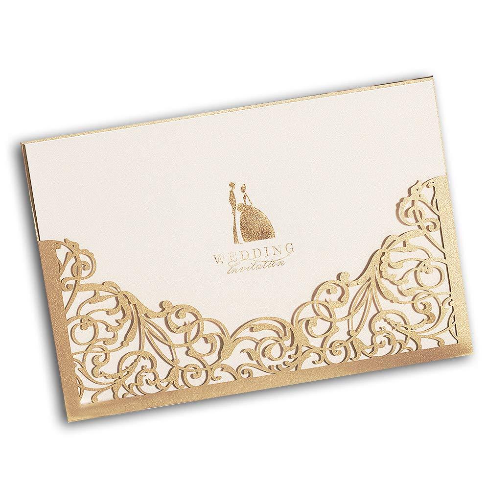 Amazon Wishmade 5 X 7gold Laser Cut Wedding Invites Printable Invitation Pocket Sleeve For Engagement Bridal Shower With Envelope Cw1016 1 Arts: Gold Laser Cut Wedding Invitations At Websimilar.org