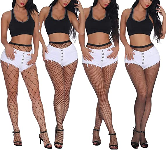 ONEYIM 2 Pairs New Upgraded Black High Waist Tights Fishnet Stockings Seamless Sheer Mesh Hollow Out Pantyhose