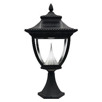 Gama Sonic Pagoda Solar Outdoor LED Light Fixture, Pier Base For Flat  Mount, Black