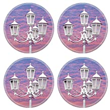 MSD Natural Rubber Round Coasters IMAGE 19334042 vintage street lamppost on sunset time