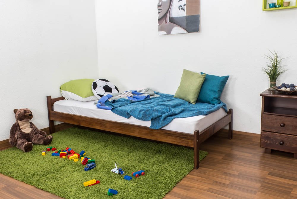 Kinderbett / Jugendbett Kiefer Vollholz massiv Nussfarben A14, inkl. Lattenrost - Abmessung 90 x 200 cm