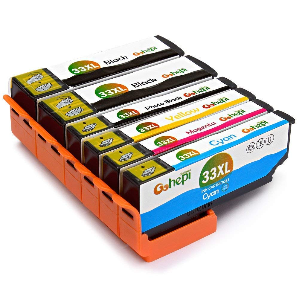 6 Multipack Gohepi 33 XL Alta Capacidad Cartuchos de tinta Compatible para Epson 33 33XL con Epson Expression Premium XP-640 XP-530 XP-830 XP-645 XP-540 XP-900 XP-630 XP-635 XP-7100
