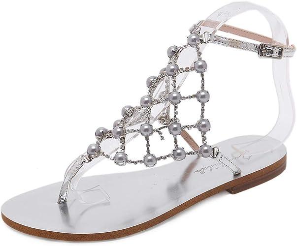 Diamante Gladiator Summer Flip Flop Flat Sandals Beach Party Shoes Size  Womens