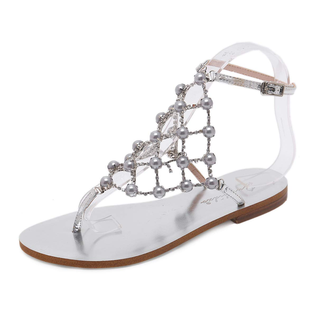 Elegant Pearls and Rhinestones Silver Ankle Strap Flat Thong Sandals - DeluxeAdultCostumes.com