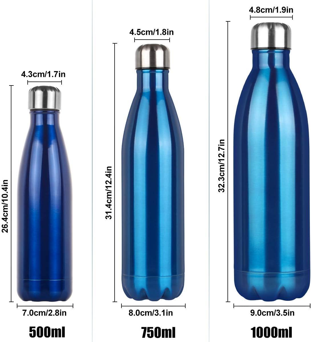 Bottiglia Acqua in Acciaio Inox Borraccia Termica Isolamento 500//750//1000 ml Bottiglia Termica-Senza BPA,Borraccia Sportive Thermos Sottovuoto Borracce a doppia parete-24 ore fredde e 12 ore calde